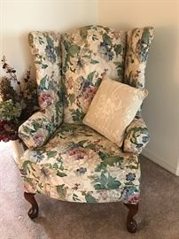 Floral Wing Back chairs $160 ea