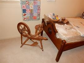 Fine Quilts, Spinning Wheel, Twin Antique Bed