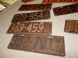 some of the vintage license plates we have for sale many sets and they date from as early as 1922