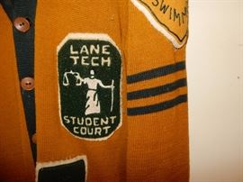 lane tech vintage sweater and patches