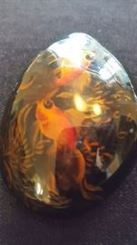 Beautiful vintage Japanese koi lacquered river stone.