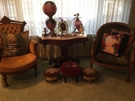 Chairs, footstools, lamps and Victorian accessories/decor
