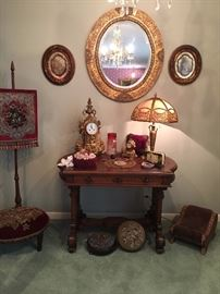 Table, footstools, accessories and decor