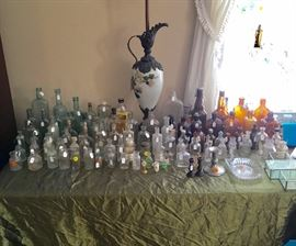 Vintage bottles of all shapes and sizes