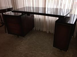 Mid Century Modernist Curved Desk with floating top by Siegels Sphinx Sentinel