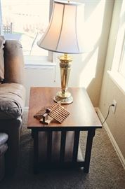 Mission Style End Tables & Lamp