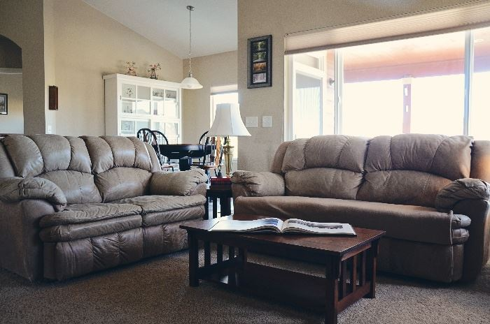 Mission Style Coffee Table Leather Sofa, Love Seat and Extra Wide Armchair & Mission Style Coffee Table