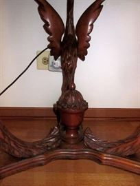 """Vintage ornate, high relief carved, rosewood table with 3 mythical swan legs, beautifully inlaid hexagon top, really nice condition!  Measures 29"""" wide and 30"""" tall."""