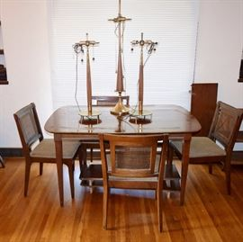 mid century table and chsirs with 3 lamps