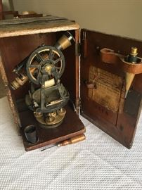 Brandis and Son's antique surveyers transit complete with box and tripod.