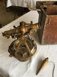 Antique Surveyers Transit. 1800's, complete with box and tripod