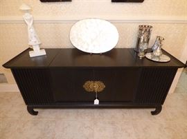 Oriental style cabinet with Penncrest radio & Garrard turntable