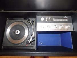 Vintage Penncrest stereo with Garrard turntable (working) in Oriental style cabinet