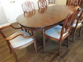 "Beautiful Hepplewhite Dining Table with 8 Chairs, leaves & Pads - Table 64""L X 42""W X 30""H plus 3 leaves 12"" each"