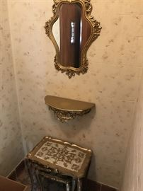 ORNATE GOLD MIRROR , SHELF AND NESTING TABLES