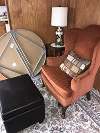 WINGBACK CHAIR AND LEATHER OTTOMAN WITH STORAGE INSIDE