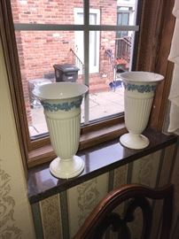 """WEDGWOOD QUEENSWARE BLUE ON WHITE 8.75"""" TALL VASE-ONE CRACKED"""