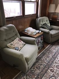TWO GREEN RECLINERS