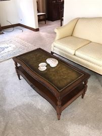 VINTAGE WOODEN COFFEE TABLE WITH LEATHER TOP