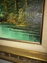 BEAUTIFUL SCENIC FORESTRY WITH RIVER AND MOUNTAIN OIL ON CANVAS FRAMED PAINTING