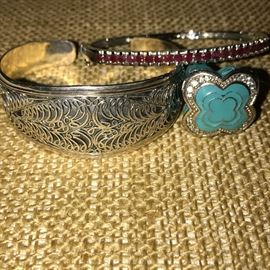 STERLING SILVER JEWELRY, RUBY BANGLE, AQUA ENAMEL STERLING RING
