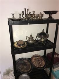 SILVER-PLATED CANDLEHOLDERS, SERVING TRAYS , TEAPOTS AND DISHES