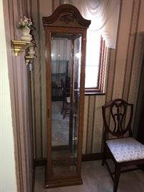 WOODEN TALL SLIM CURIO CABINET WITH GLASS SHELVES