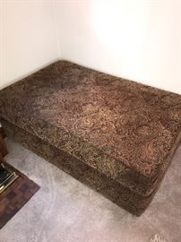 JACQUARD FABRIC LARGE OTTOMAN WITH OPEN STORAGE
