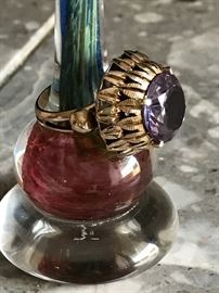 VINTAGE 14K YELLOW GOLD MYSTIC TOPAZ COCKTAIL RING SIZE 7