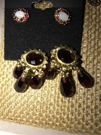 18K SOLID GOLD GARNET DANGLE CLIP EARRINGS AND 14K GOLD GARNET AND OPAL EARRRINGS