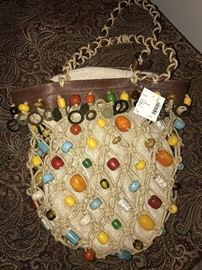 G BY GUESS LARGE ROPE TOTE WITH BEADS AND BRASS-VERY ARTSY HANDBAG- MSRP $295