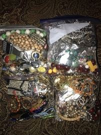 JEWELRY BAGS OF BROKEN JEWELRY FOR REPAIR -ARTS AND CRAFTS