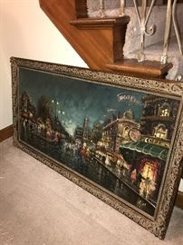 VERY LARGE PARIS AT NIGHT PAINTING-OIL ON CANVAS