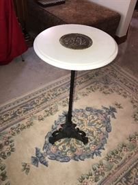 ANTIQUE ZIMERMANS MARBLE TOP ROUND SLIM SIDE TABLE
