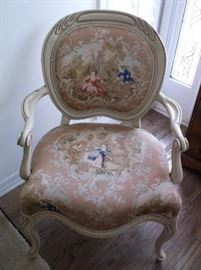 One of a pair of French style side chairs