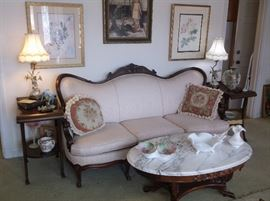 Victorian sofa and marble top coffee table