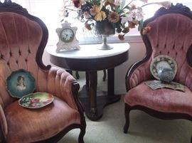 Mr. and Mrs. Victorian chairs and period Victorian demi-lune marble top table