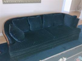 Pair of wood frame blue velvet sofas