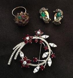 Golden gemstone ring, Sterling German seahorse jelly belly earrings