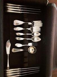 2   sets silver flatware