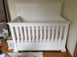 Silva baby crib and converter set and organic mattress. NEVER USED.  $800