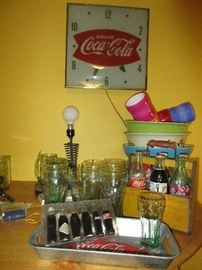 Lots of vintage Coca Cola items Including WWII era wooden 6 pack carrier and vintage bottles
