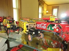 Collectible Coca Cola model trucks. Danbury mint, Matchbox, Hamilton collections