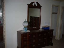 Master Bedroom Dresser with Mirror, also pictured is Gone With the Wind Lamp.   The Mirror to the Dresser is available; the Dresser is Sold.