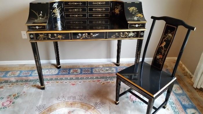 Asian Black Lacquer Hand Painted Desk