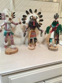 1st one:  Horned Owl by artist M. Smith     2nd one:   Broad face Kachina by Nathan David     3rd one:  Artist Nathan David