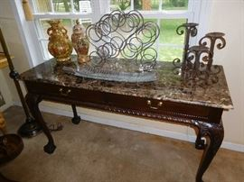 Mahogany table with marble top