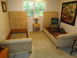 Pair of Pottery Barn wicker twin beds