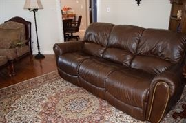 Custom Leather Dual Recliner. 7 feet long. Very Comfortable