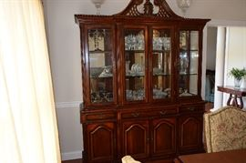 "Gorgeous Lighted Lexington China Hutch. 6' wide X 20"" deep x 91"" Tall. Glass Shelves, Mirrored Back, Lots of Storage."